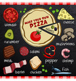 Pizza and ingredients for cooking vector image