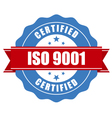 ISO 9001 certified stamp - quality standard seal vector image