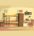 cartoon student dormitory room interior vector image