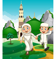 Muslim couple at the mosque vector image