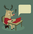 Rudolph the Reindeer Using a Notebook vector image