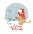 Christmas card cat fisherman vector image vector image