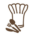 chef hat forkspoon and knife vector image vector image