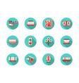 railway platforms round flat blue icons set vector image