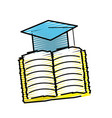 hat graduation with open notebook study vector image