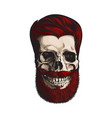 hand drawn human skull with hipster red hairdo vector image
