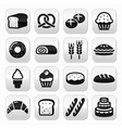 Bakery pastry buttons set - bread donut cake vector image