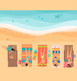 young women lying on the beach near sea top view vector image