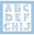 Blue fabric alphabet Letters A B C E F G H I J vector image
