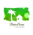Green watercolor splash with home and palm vector image