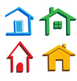 3D houses icons vector image
