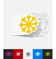 snowflake paper sticker with hand drawn elements vector image