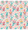 Cute retro robots colorful silhouette background vector image vector image