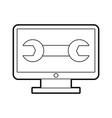 Computer desktop with wrench vector image