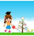 Cute little girl with tree education concept on vector image
