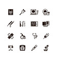 medical devices and equipment icons vector image