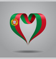 portuguese flag heart-shaped ribbon vector image