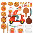 italian cook pizza delivery boy pizzeria cartoon vector image