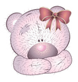 Pink bear with bow vector image
