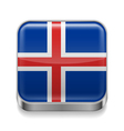 Metal icon of Iceland vector image vector image