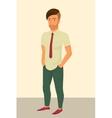 Hipster guy wearing stylish haircut vector image