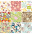 Set of seamless floral pattern vector image