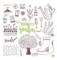 Hand sketch set of Garden doodle elements - seed vector image