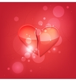 Broken heart isolated on red background vector image