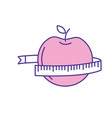 delicious apple fruit with tap measuring vector image