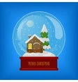 Glass sphere with snow and house vector image