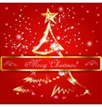Merry christmas tree background vector image