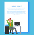 office work with text on white vector image