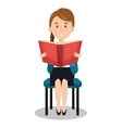 woman sitting reading book vector image