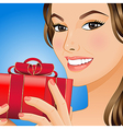 Woman with gift box vector image