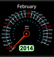 2014 year calendar speedometer car in February vector image