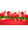 Holiday background with bouquet of red and white vector image vector image