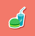 paper sticker burger and soda vector image