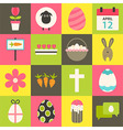 Easter flat stylized icon set 3 vector image