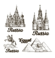 Travel Hand drawn sketch Russia Egypt vector image