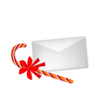 A Lovely Candy Cane with Red Bow and Letter vector image