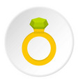 gold ring with green gem icon circle vector image