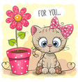 greeting card cat with flower vector image