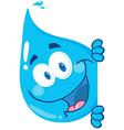 Happy Water Drop Looking Around A Sign vector image