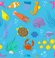 set aquatic funny sea animals underwater vector image