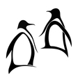 Two silhouette of penguin vector image