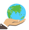 men hand is holding small earth vector image
