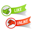 thumb up and down gestures vector image vector image