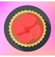 Strawberry fruit cupcake top view vector image