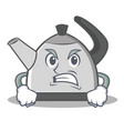angry kettle character cartoon style vector image