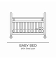 Baby bed line icon vector image